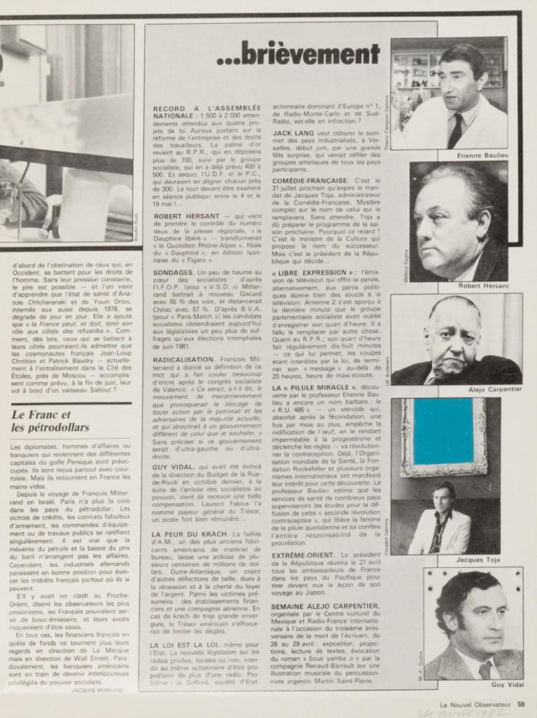 Ernest-T.-Le-Nouvel-Observateur-24-avril-1982-1982-peinture-laquée-sur-pages-de-journal-297-x-222-cm-courtesy-Semiose-767×1024