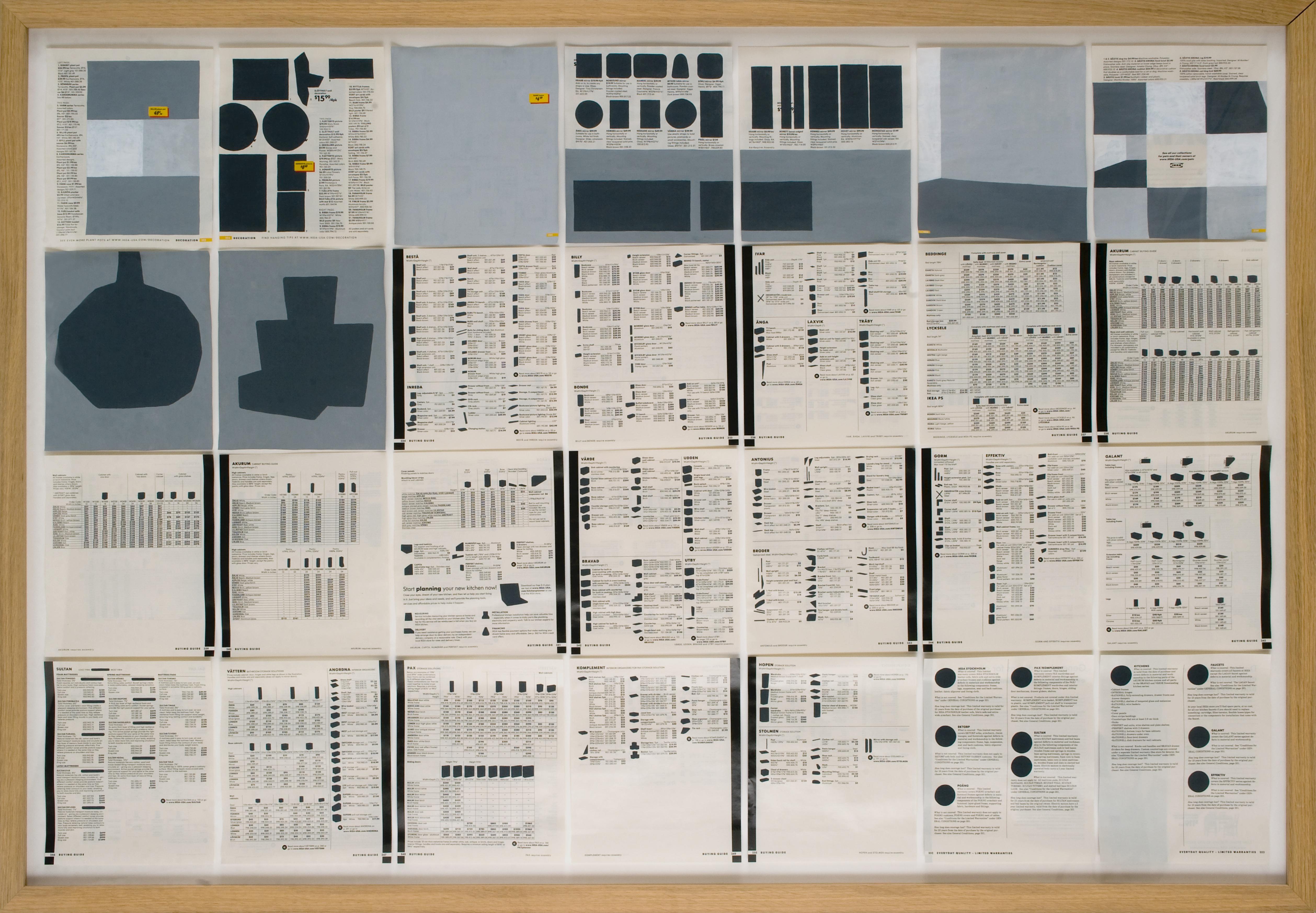 Jochen Gerner, n°10 – Buying guide, 2008_Série Home_Acrylique sur papier imprimé, 100 x 144 cm avec cadre_courtesy galerie anne barrault