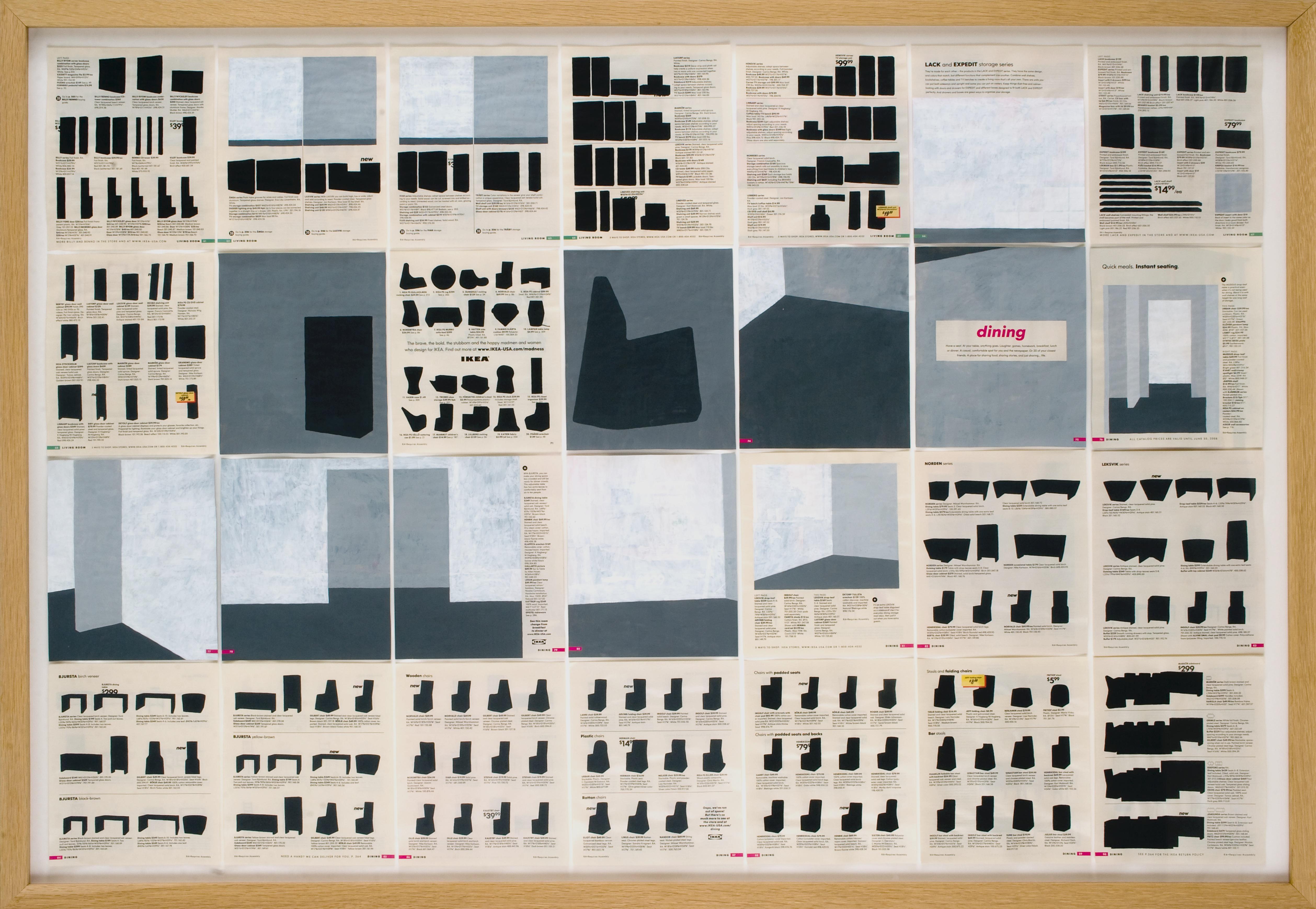 Jochen Gerner, n°3, Dining, 2008, Série Home, Acrylique sur papier imprimé, 100 x 144 cm avec cadre, courtesy galerie anne barrault