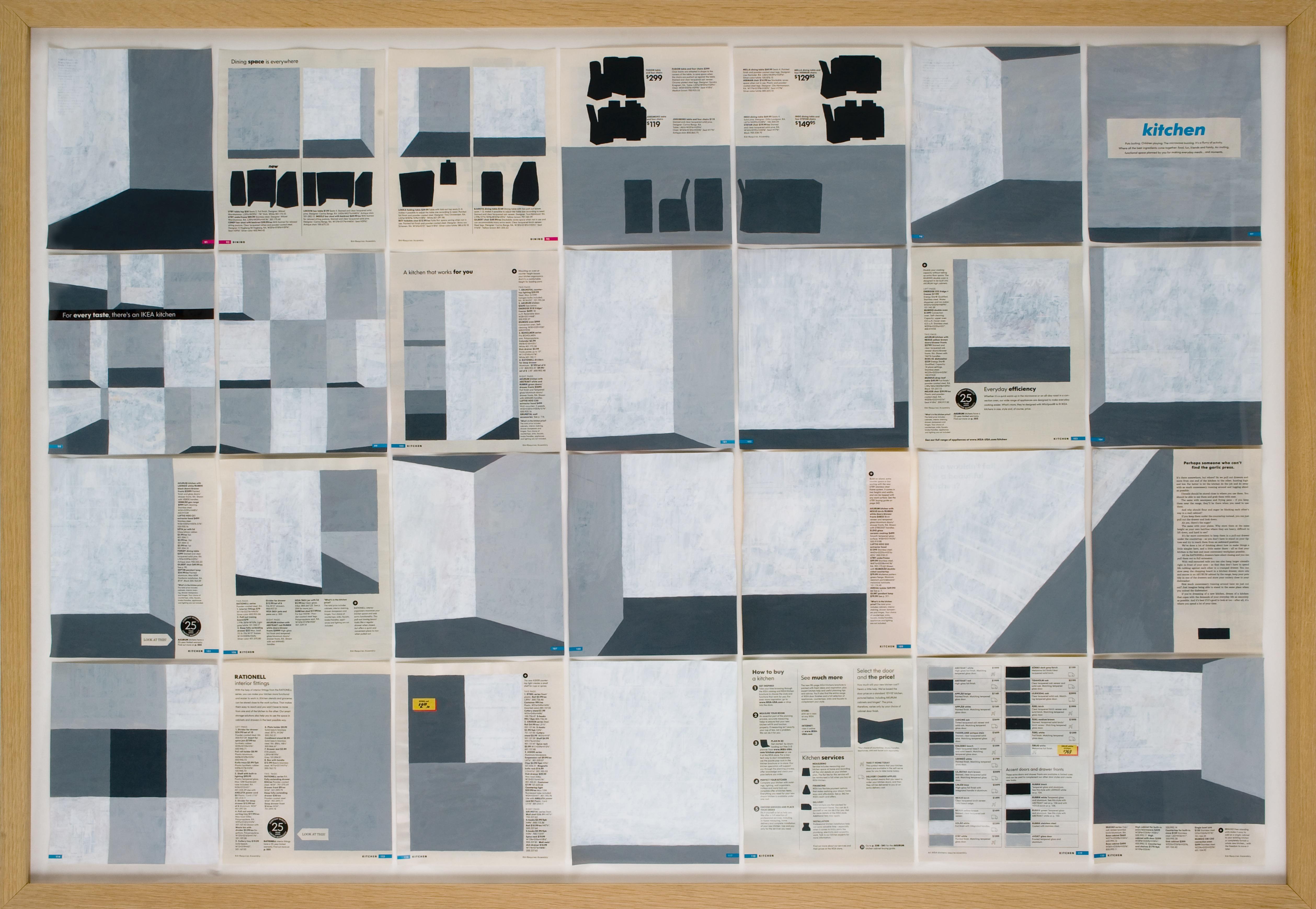 Jochen Gerner, n°4, Kitchen, 2008, Série Home, Acrylique sur papier imprimé, 100 x 144 cm avec cadre, courtesy galerie anne barrault