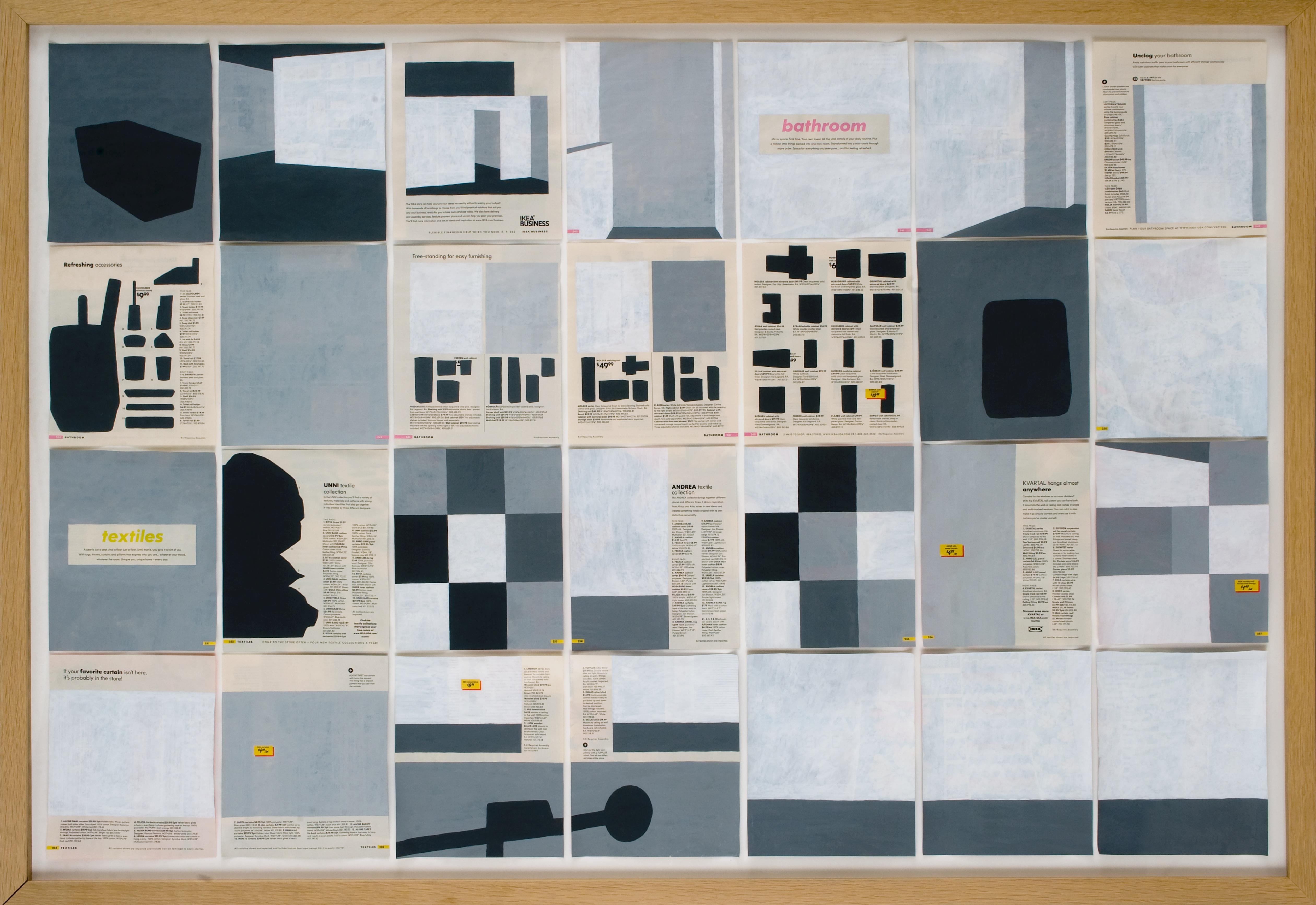 Jochen Gerner, n°7 – Bathroom – Textiles, 2008_Série Home_Acrylique sur papier imprimé, 100 x 144 cm avec cadre_courtesy galerie anne barrault