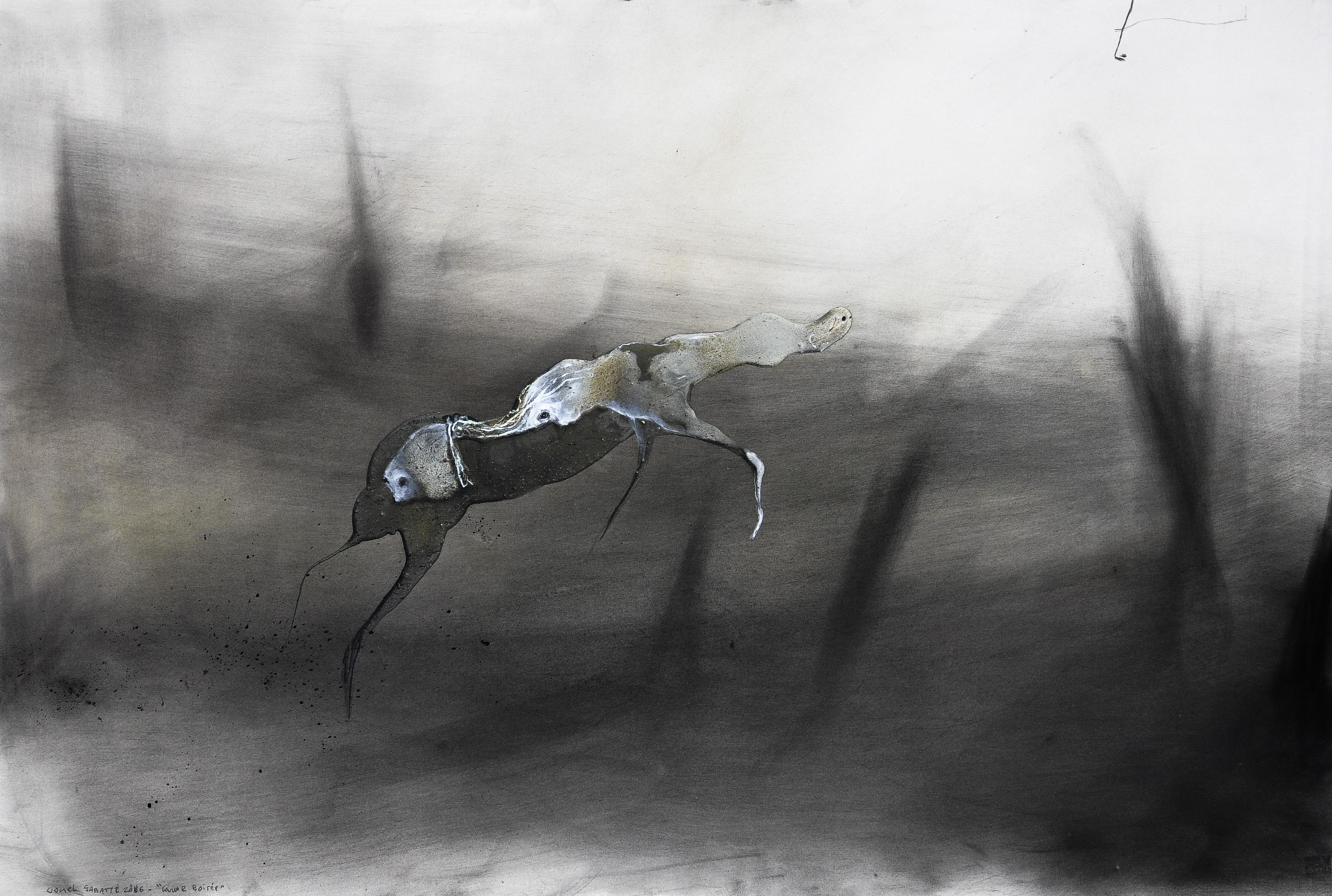 Lionel Sabatte, Caresse boisée, 2016, charbon, medium acrylique et curcuma sur papier, 80 x 120 cm © galerie C