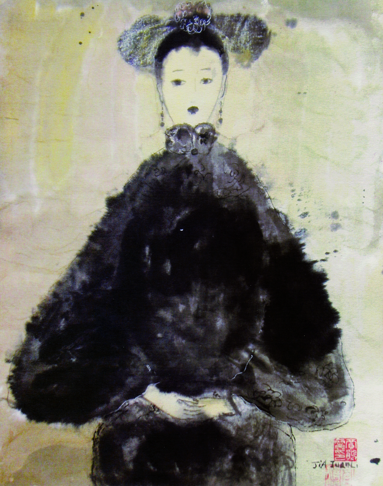 JL0205 -ZB 天香 _宫女 THE PALACE SERVANT 54×37 纸本水墨WATER AND INK ON THE CARDBOARD 1993