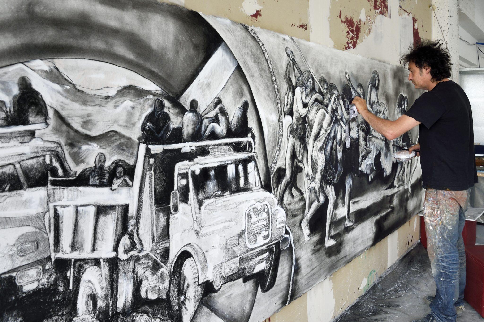 France, Val-de-Marne (94), Yvry-sur-Seine, Atelier de Fred Kleinberg pour l'exposition de l'Institut du Monde Arabe