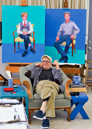 David Hockney dans son atelier, Los Angeles, 1 mars 2016 © David Hockney Crédit photo : Jean-Pierre Goncalves de Lima