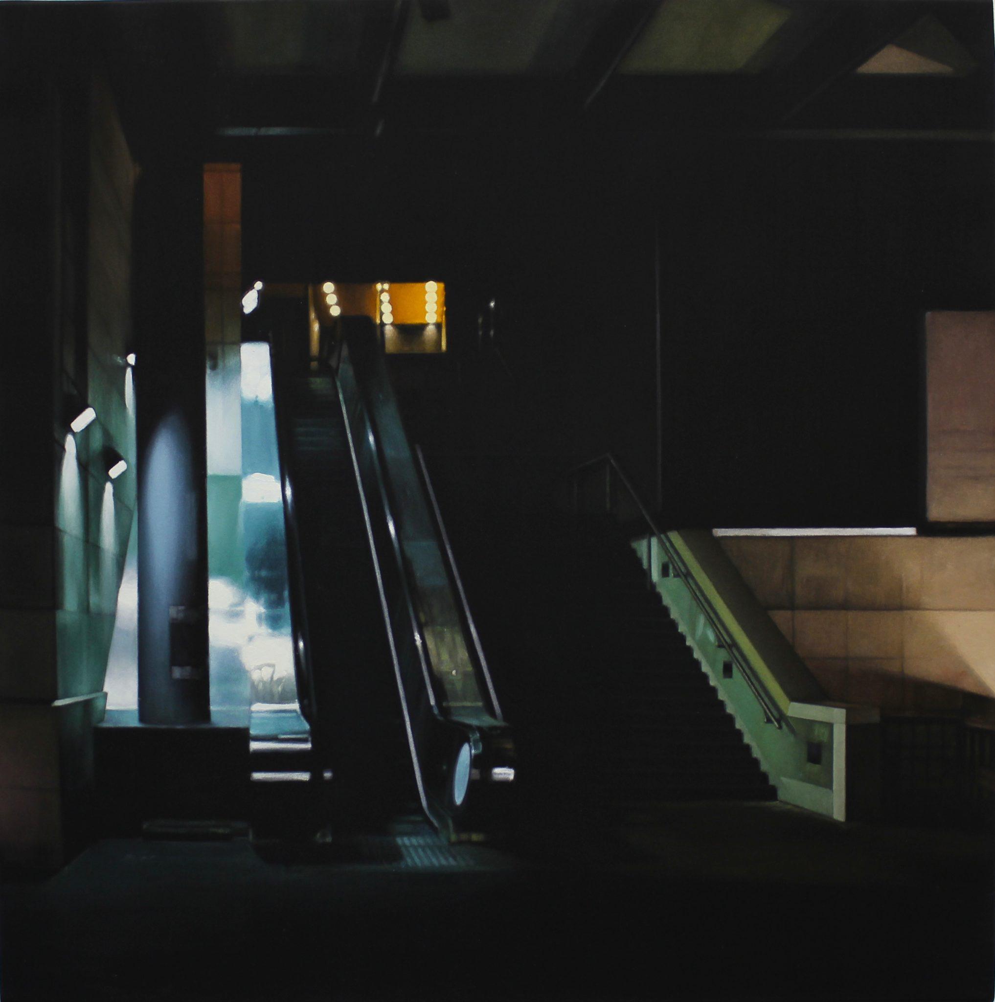 Grégory Derenne, Escalator Bibliothèque, acrylique sur toile noire, 60 x 60 cm