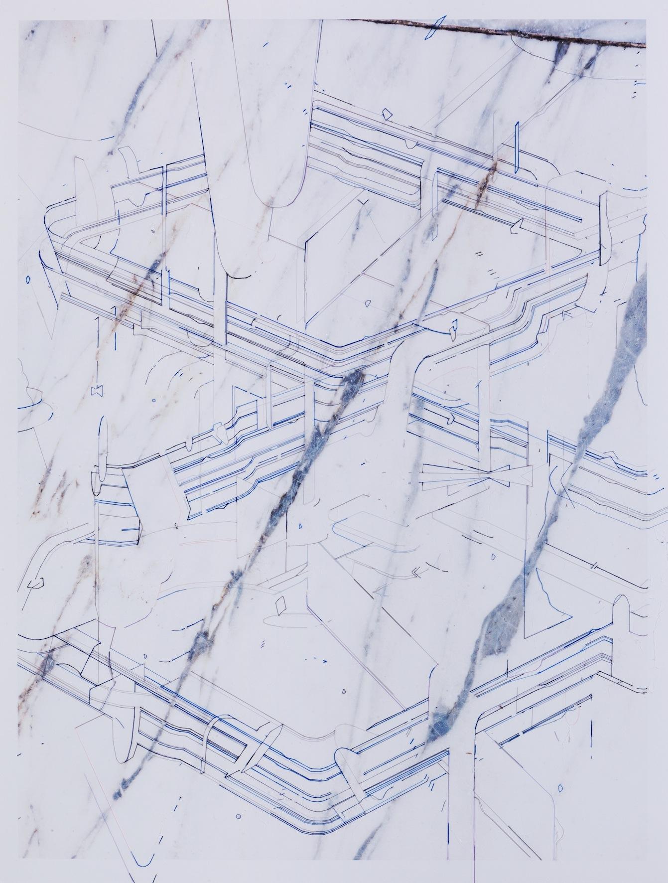 Keita Mori _Template (TS_17_10_19)_ 2017 – fil de soie et de coton et sur photographie – 80 x 60 cm – Galerie Catherine Putman