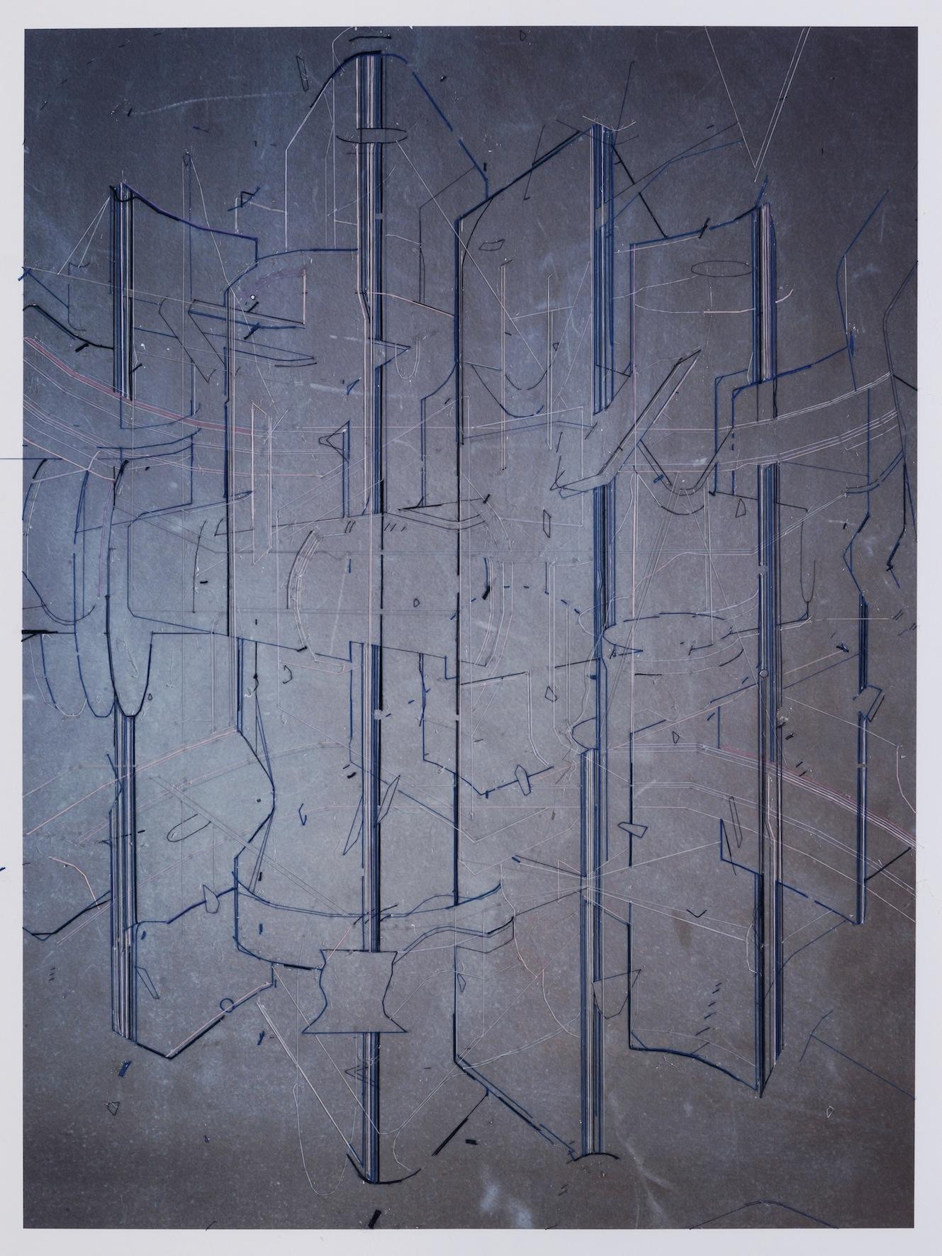 Keita Mori _Template (TS_17_10_21)_ 2017 – fil de soie et de coton et sur photographie – 80 x 60 cm – Galerie Catherine Putman