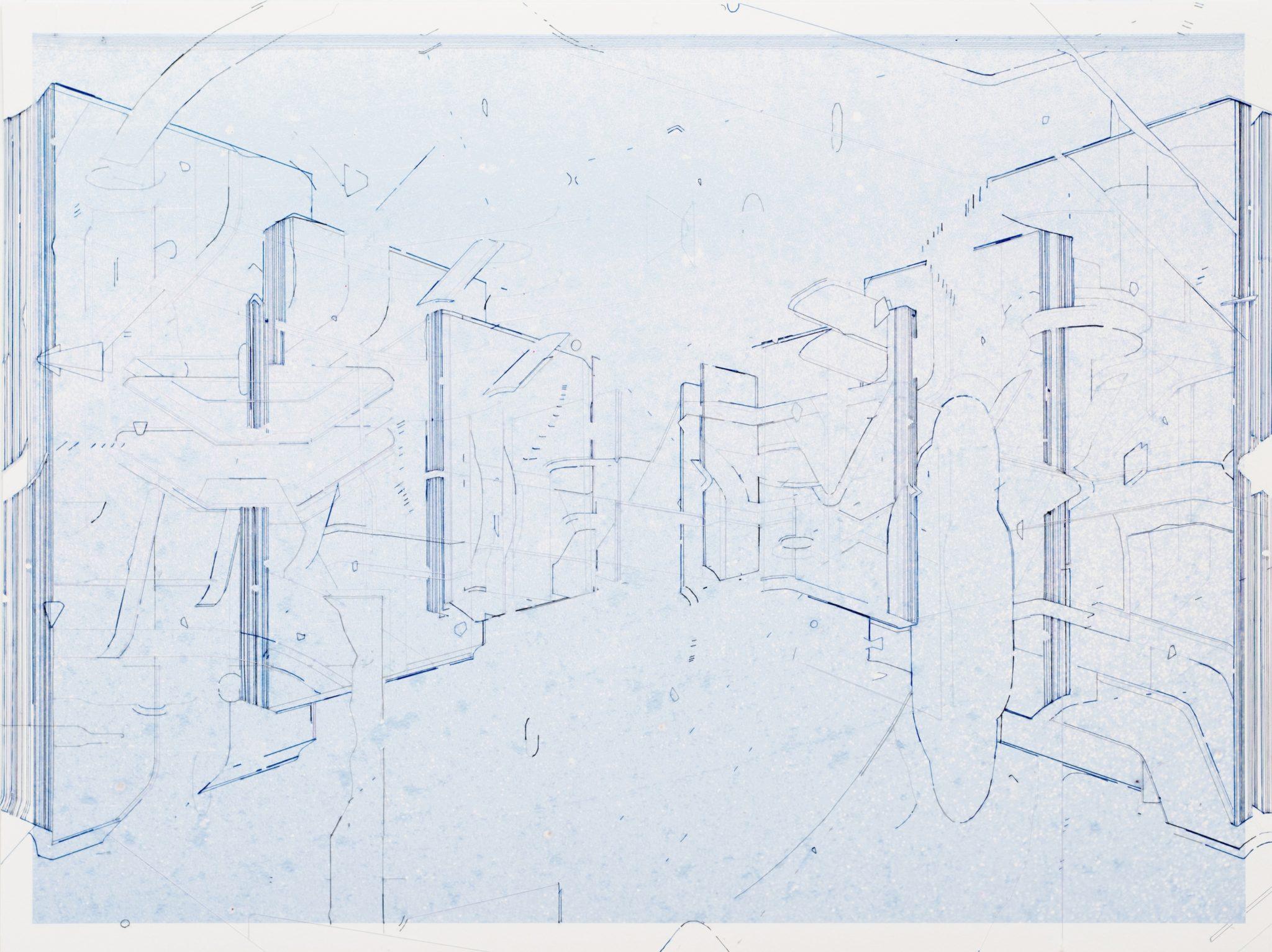 Keita Mori _Template (corpus)_ 2017 – fil de soie et fil de coton sur photographie – 60 x 80 cm – Galerie Catherine Putman