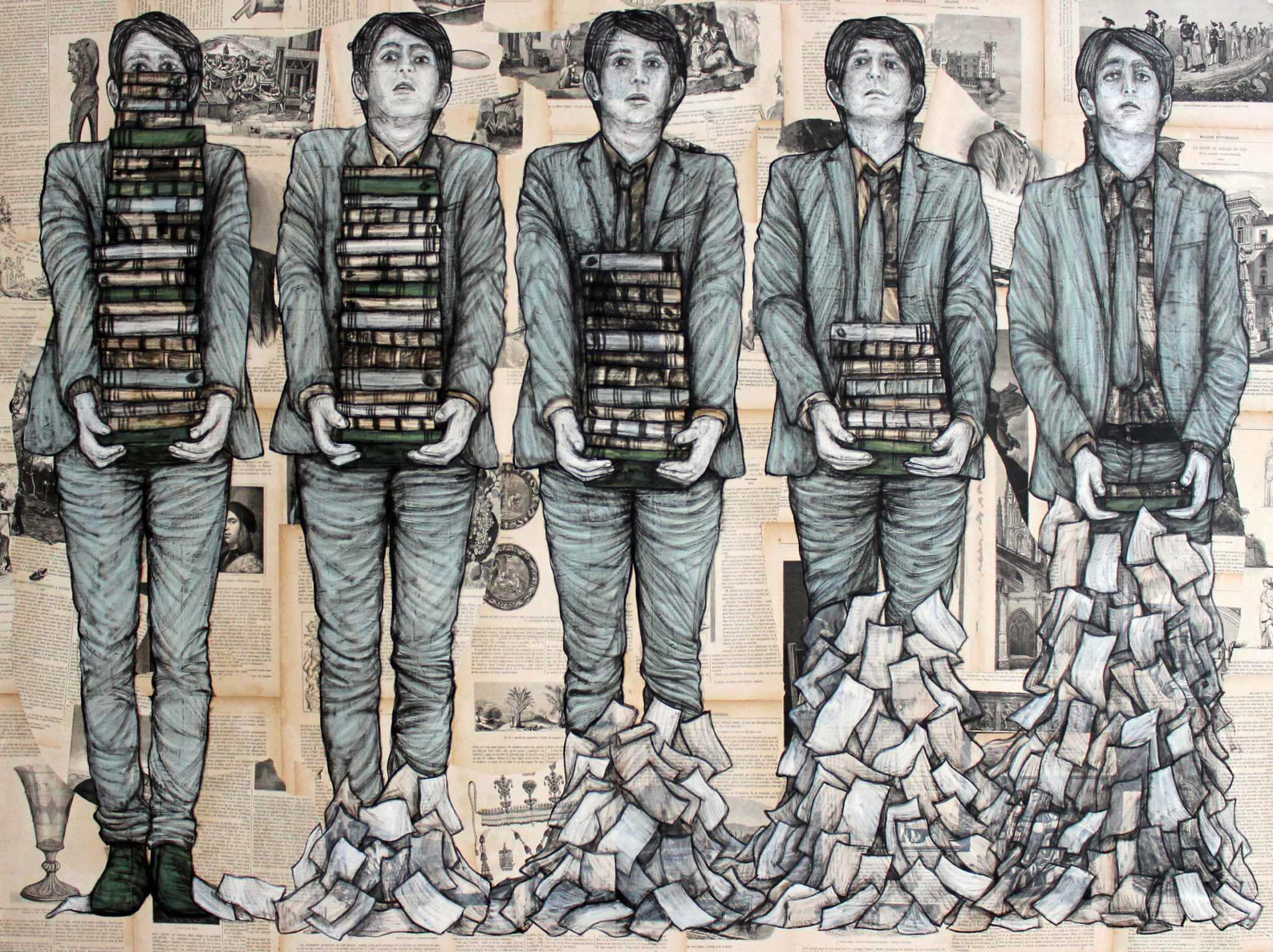 YIA Levalet Effeuillage Mixed media on paper and canvas 100x140cm 2017