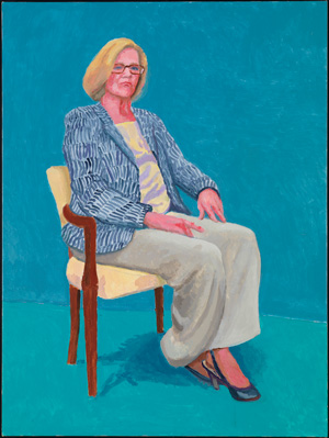 David Hockney Dagny Corcoran, 15, 16, 17 janvier 2014 (Dagny Corcoran, 15th, 16th, 17th January 2014) appartenant à 82 portraits et 1 nature morte Acrylique sur toile (d'une série de 82) 121,92 x 91,44 cm © David Hockney Crédit photo : Richard Schmidt