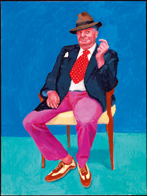David Hockney  Barry Humphries, 26th, 27th, 28th March 2015 From 82 Portraits and 1 Still-Life  Acrylic on canvas (one of an 82-part work)  48 x 36″  © David Hockney  Photo Credit: Richard Schmidt