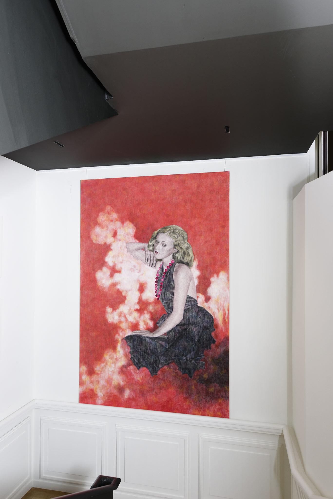Chambres à part 13 – Parfums de Femmes – Iris Van Dongen, Adel Blanc Sec, pastel sur papier marouflé sur toile, 230×150 cm – Laurence Dreyfus