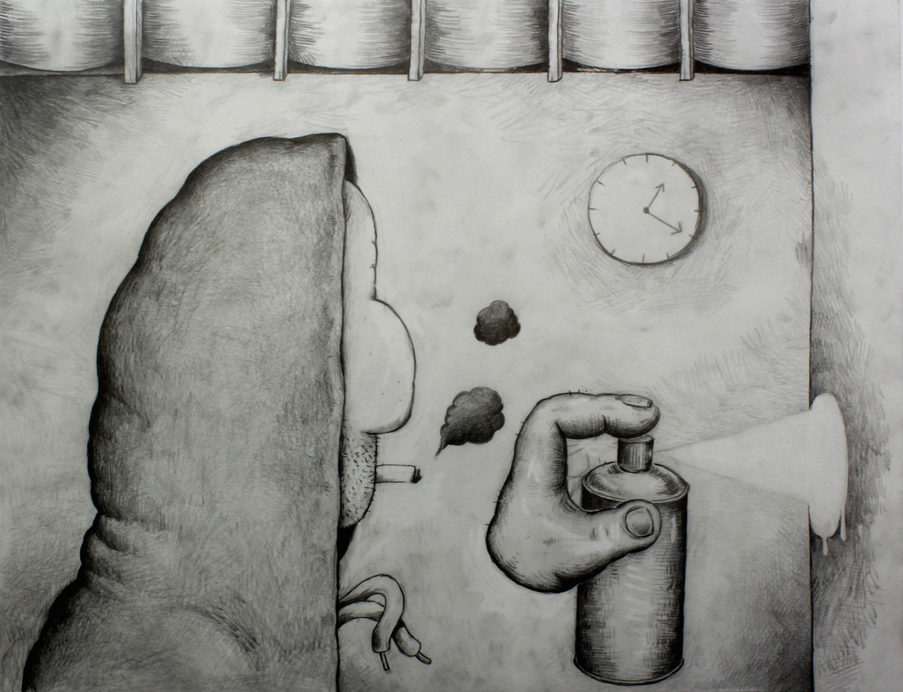 Antoine Desailly, De la bombe, 2017_Graphite sur papier, 50 x 65 cm © Modulab