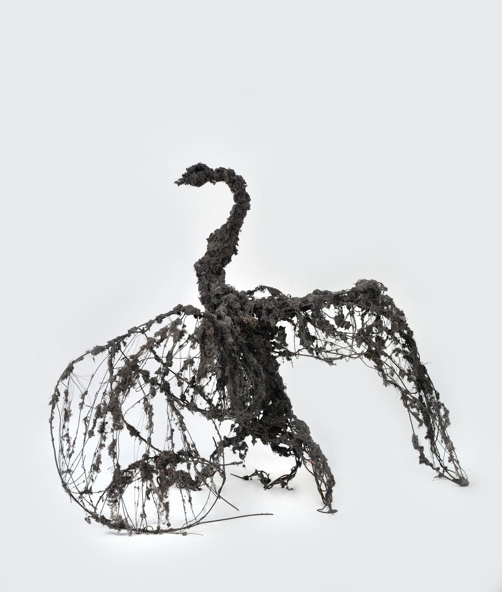 Art Paris Art Fair 2018, Lionel Sabatté, Cygne noir de janvier 2015_Lionel Sabatte_2015_poussiere sur structure metallique_142x175x140cm – copie