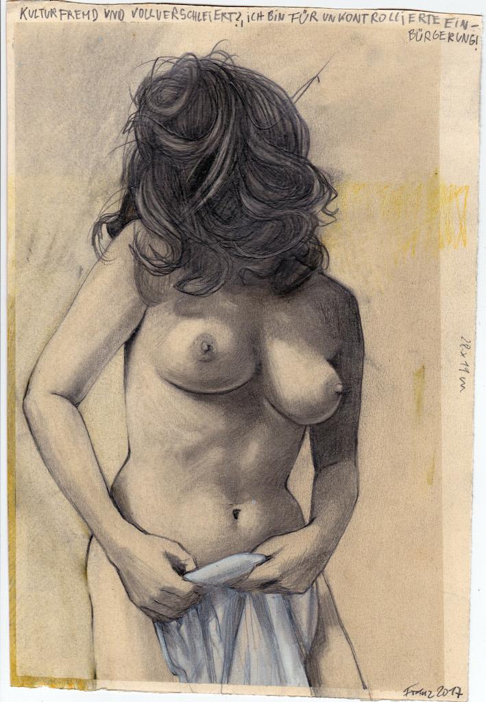 Franz Burkhardt, Kulturfremd, 2017_Crayon, Encre de Chine, gouache sur papier, 28 x 19 cm © Courtesy Galerie Martin Kudlek, Cologne