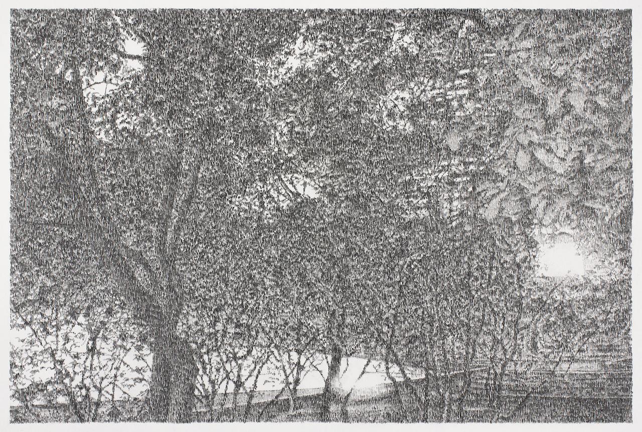 Richard Müller, Parc à Shanghai (French restaurant), 2016_Crayon sur papier, 50 x 65 cm © galerie la Ferronnerie