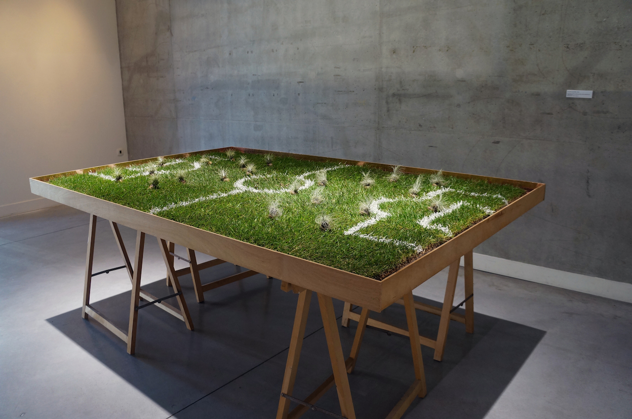 Jean-Luc Bichaud,  5 Les jeux sont faits- 2018 -Escargots vivants, pelouse, bois, cuivre, peinture sur CTBX- 216 x 142 cm – copie