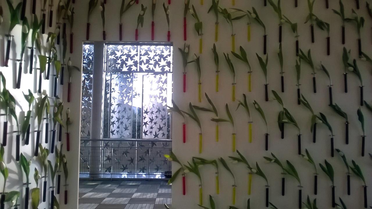 Jean-Luc Bichaud,  7 Spectre-2004-18- 250 x 312 x 312cm- CTBX, peinture blanche- verre -eau-encres- fleurs fraîches-temps – copie