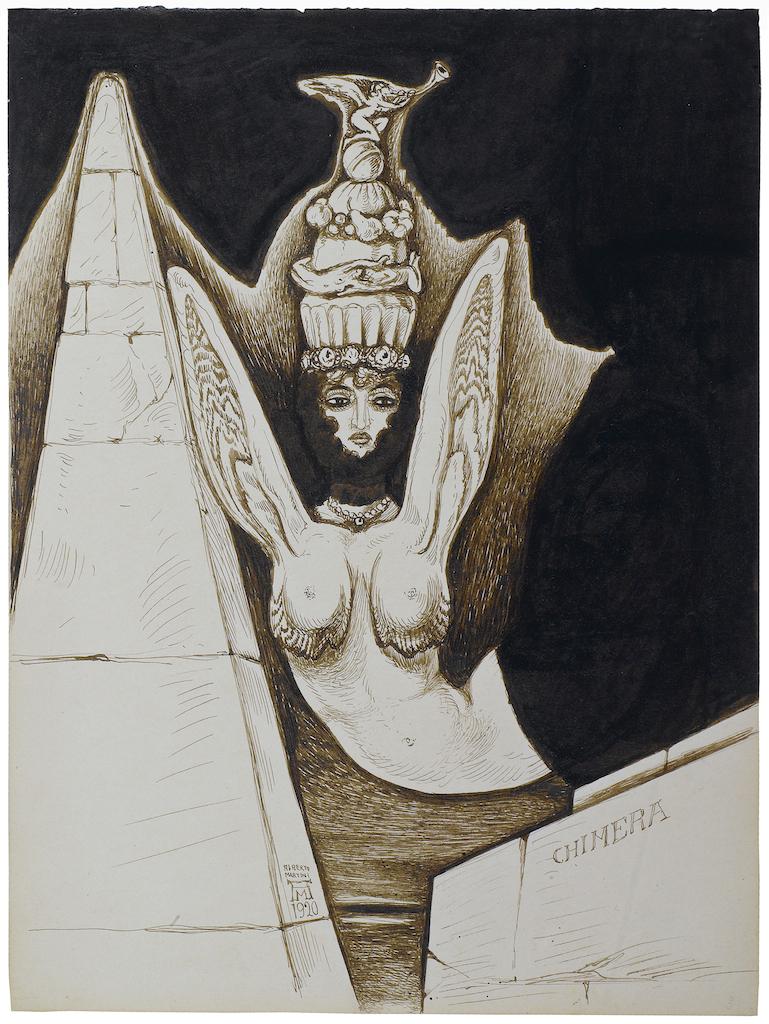 Alberto Martini ,Chimera 1920, Encre de chine 315x235mm PANDORA Old Masters Inc