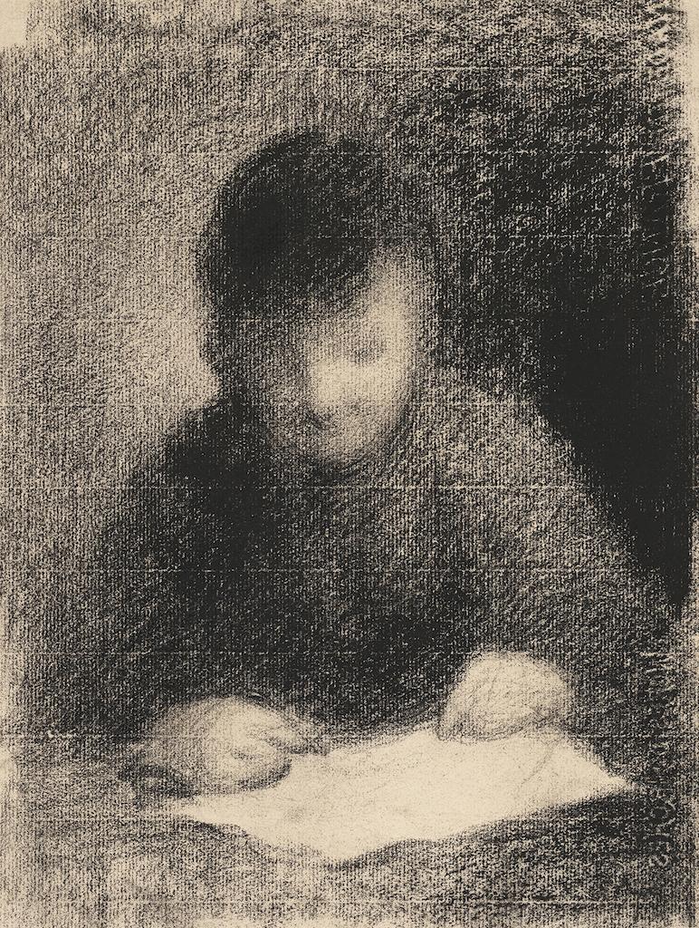 Charles Angrand Enfant lisant, crayon ContÇ sur papier, Ca 1896-98, 316x239mm Eric Gillis Fine Art
