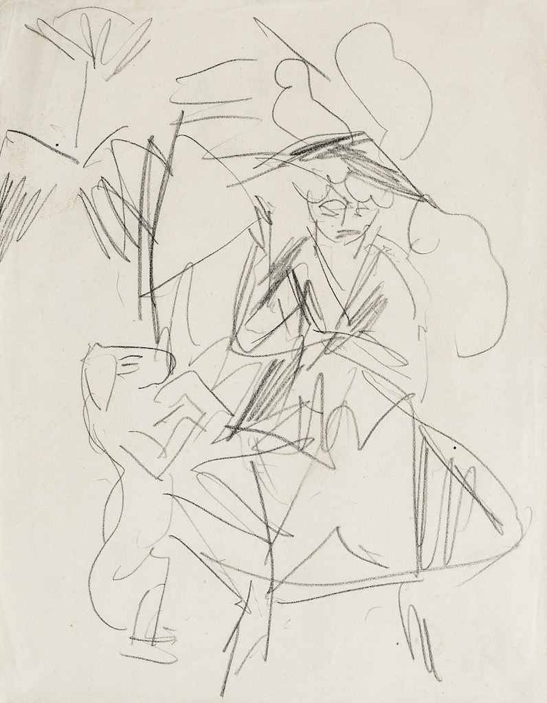 Ernst Ludwig Kirchner Promeneuse avec chien, 1911, graphite 205x163mm ARNOLDI LIVIE