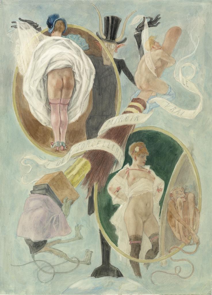 FÇlicien Rops Le vrai miroir de la sorcellerie Aquarelle arabique et crayon noir sur papier 1883 34x24cm Galerie AB