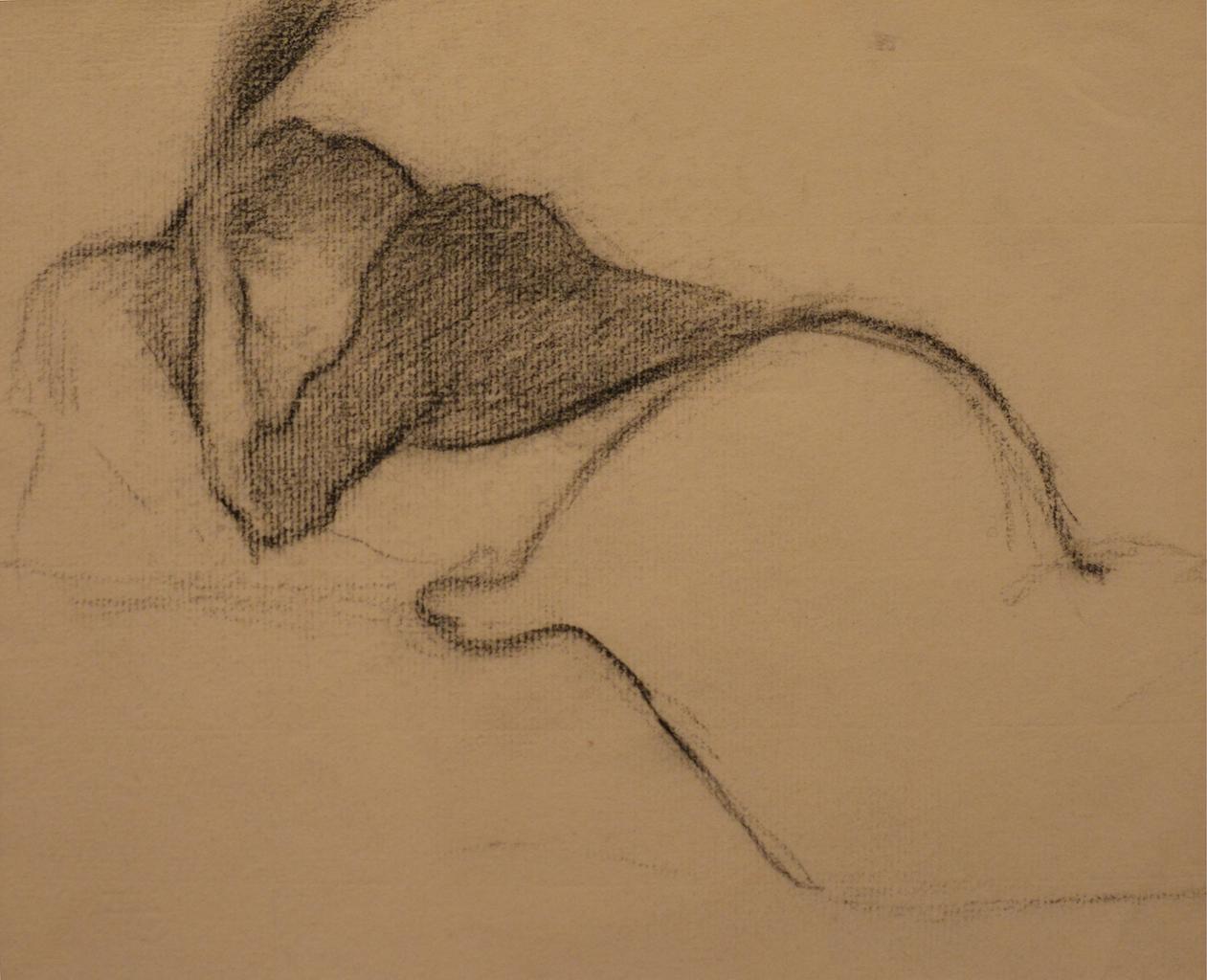 Henri Edmond Cross, femme reposant, une main sur la tàte Crayon vergÇ cräme filigranÇ Circa 1890 Cachet du monogramme de l'artiste 31x24cm Galerie AB