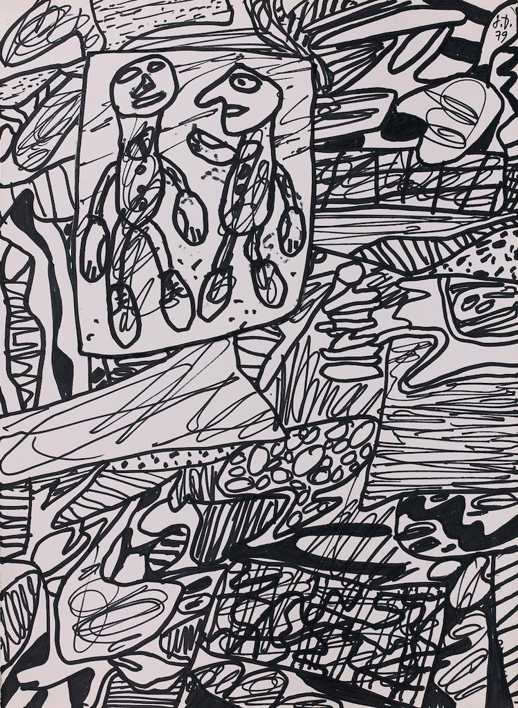 Jean Dubuffet Situation CXXIII 1979 feutre noir sur papier 35×25,5 cm Galerie Antoine Laurentin