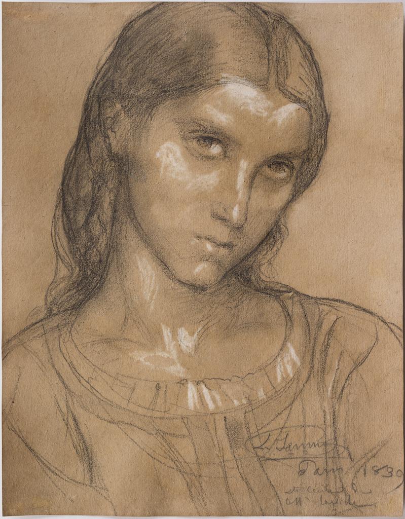 Louis Janmot Etude de sainte CÇcile, 1839, crayon noir et rehauts de craie blanche, 180×215 mm Michel Descours