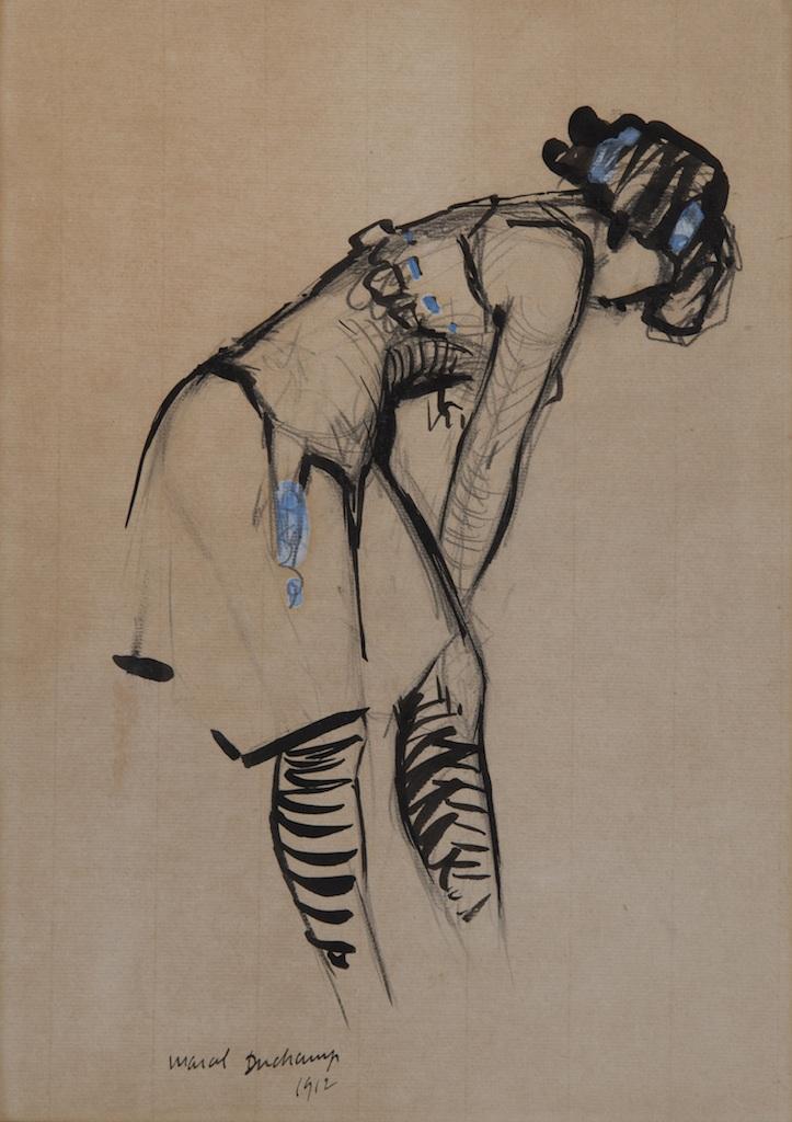 Marcel Duchamp Jeune femme au corset Ö ruban bleu 1912 encre de chine, mine de plomb et gouache sur papier 29,5×20,5cm Galerie HÇläne Bailly