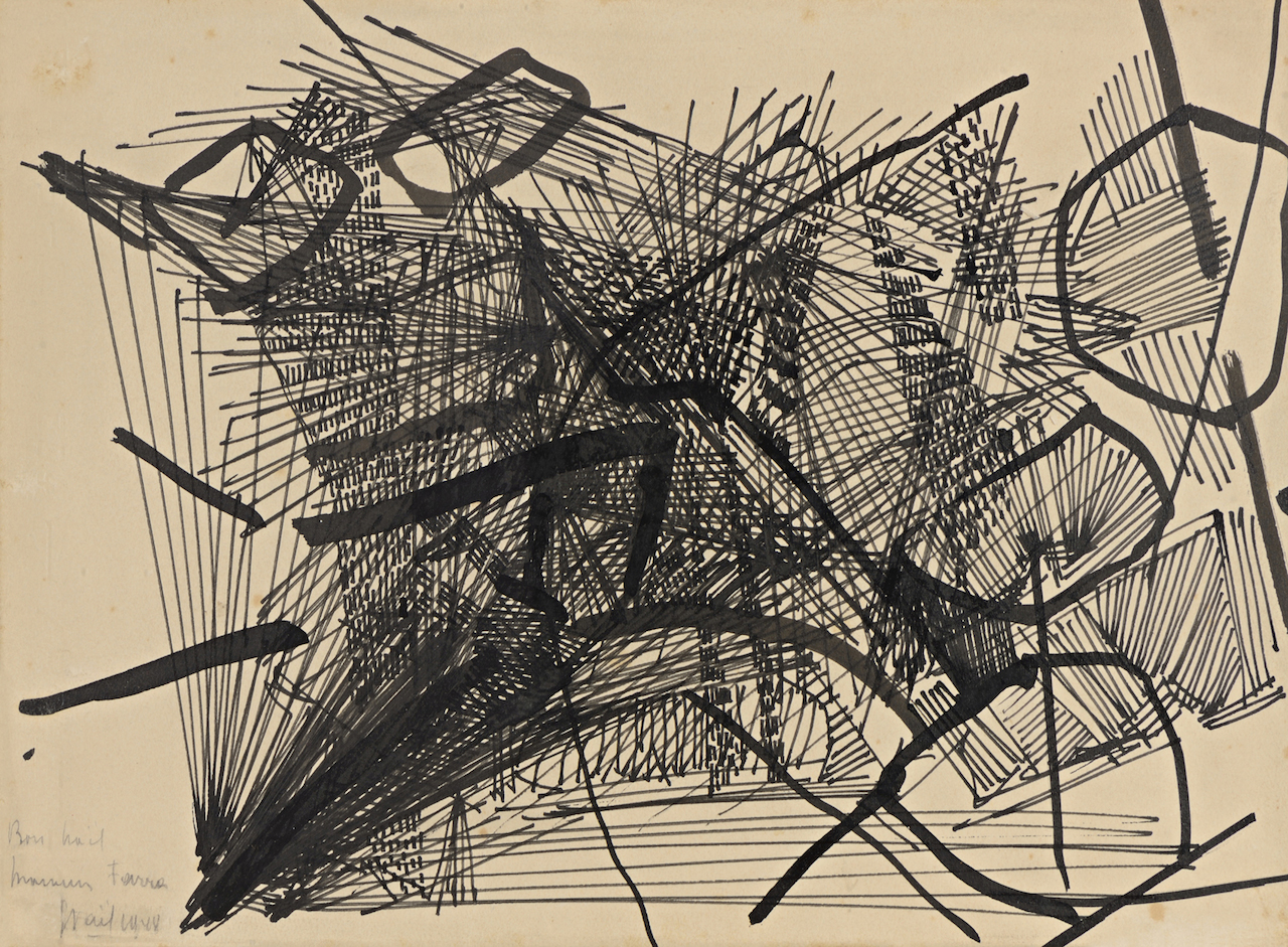 Nicolas de Staâl, composition 1948, dessin Ö l'encre de chine, plume pinceau et encre sur papier 285×380 mm Galerie BERES