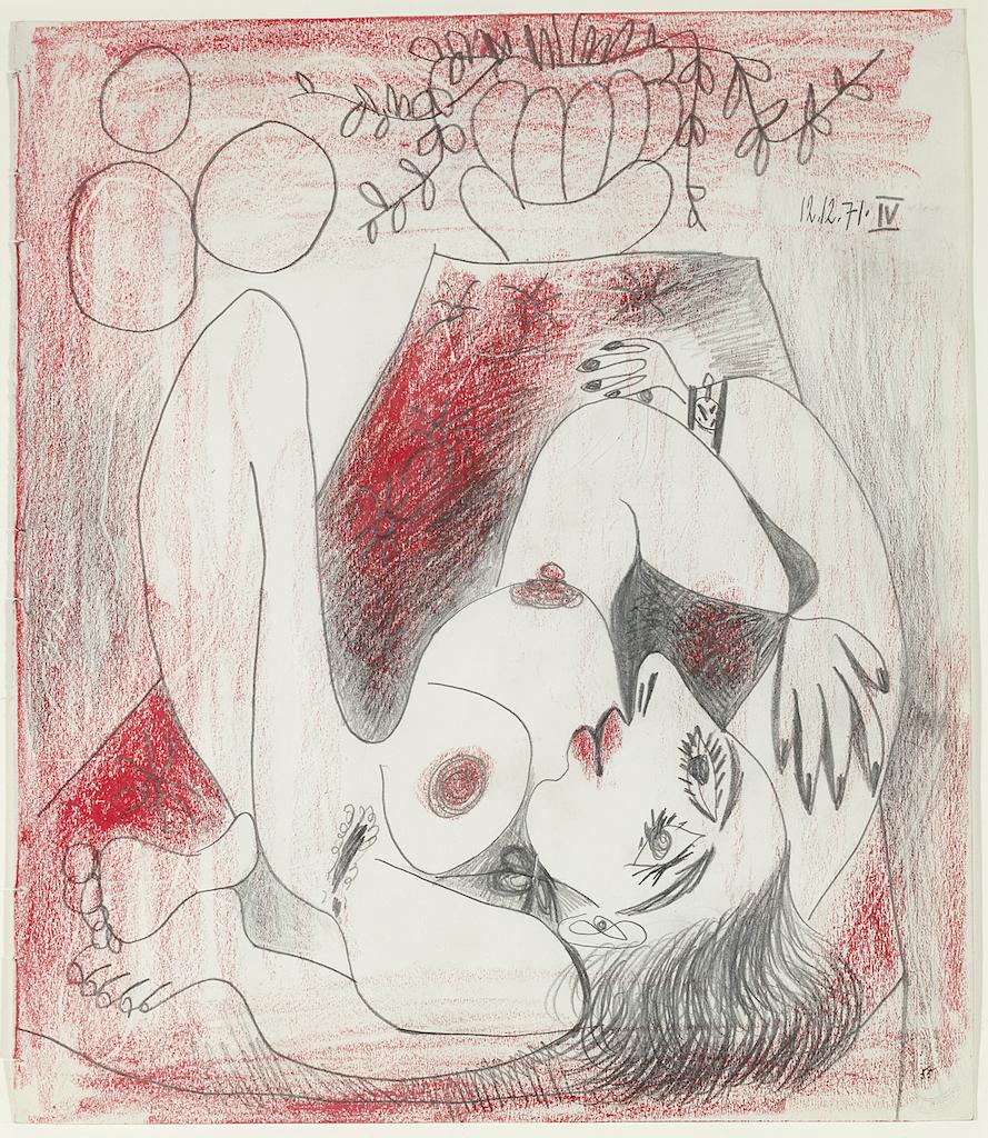 Pablo Picasso Femme et Fleurs 1971, plume et crayon rouge sur papier, 36,5×31,5cm Reginart Collections