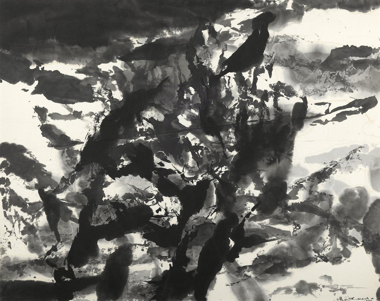 Zao Wou-Ki , sans titre, 2000, encre sur papier 750x940mm AKTIS GALLERY