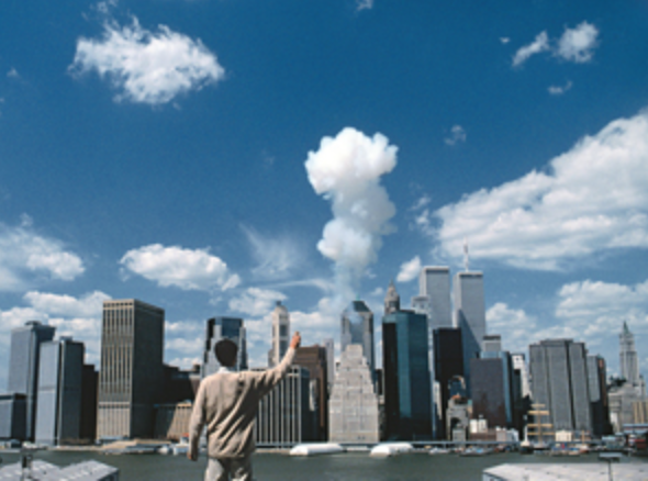 Cai Guo-Qiang  The Century with Mushroom Clouds: Project for the 20th Century (Looking toward Manhattan)  1996 Realized in New York City, April 20, 1996; approximately 3 sec., gunpowder (10 g) and cardboard tube  Photo: Hiro Ihara, courtesy Cai Studio