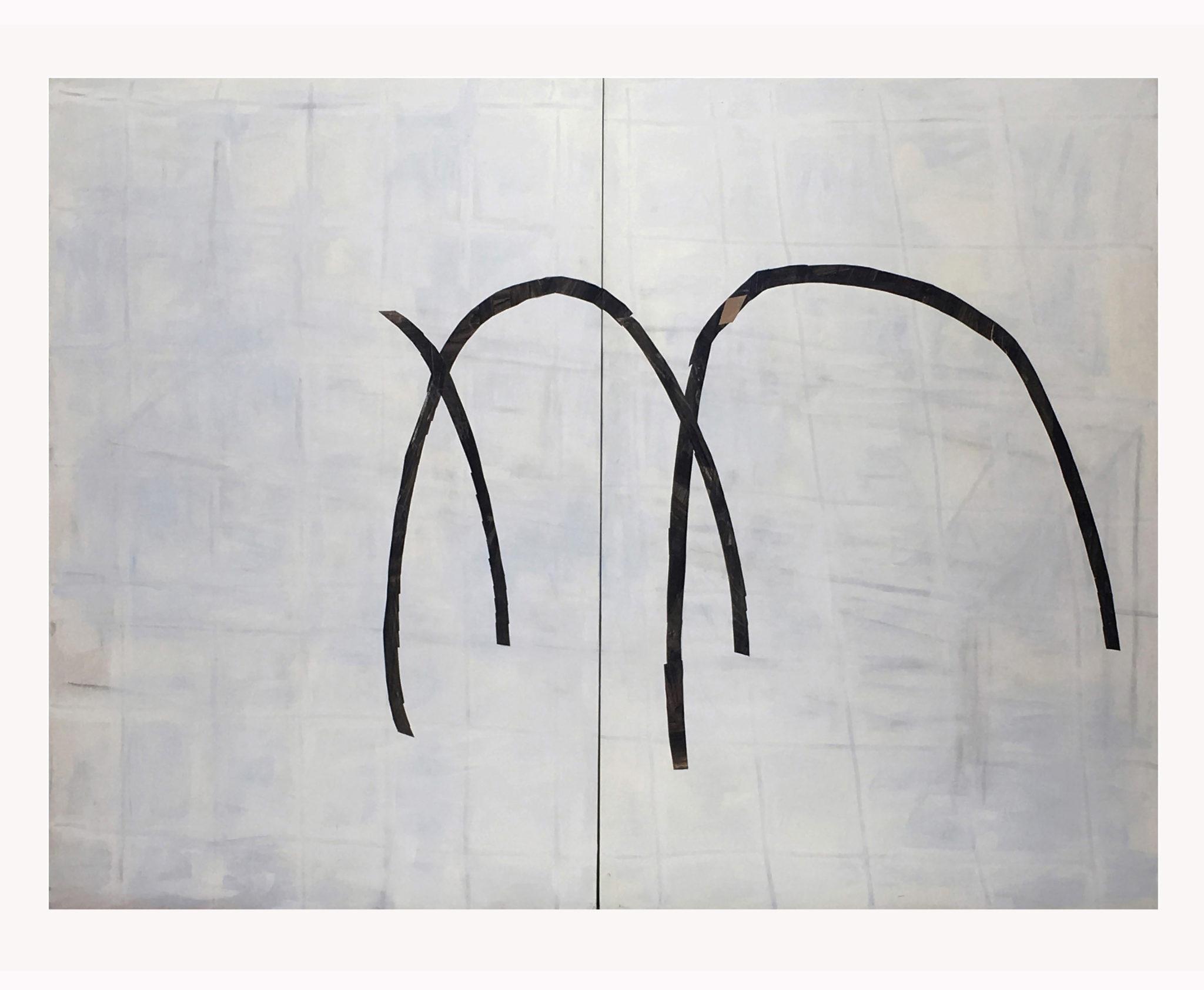 Marie Claude Bugeaud, galerie Berthet-Aittouarès, 01-sans titre-2018,diptyque,acryl et papiers collés sur toile,195x260cm