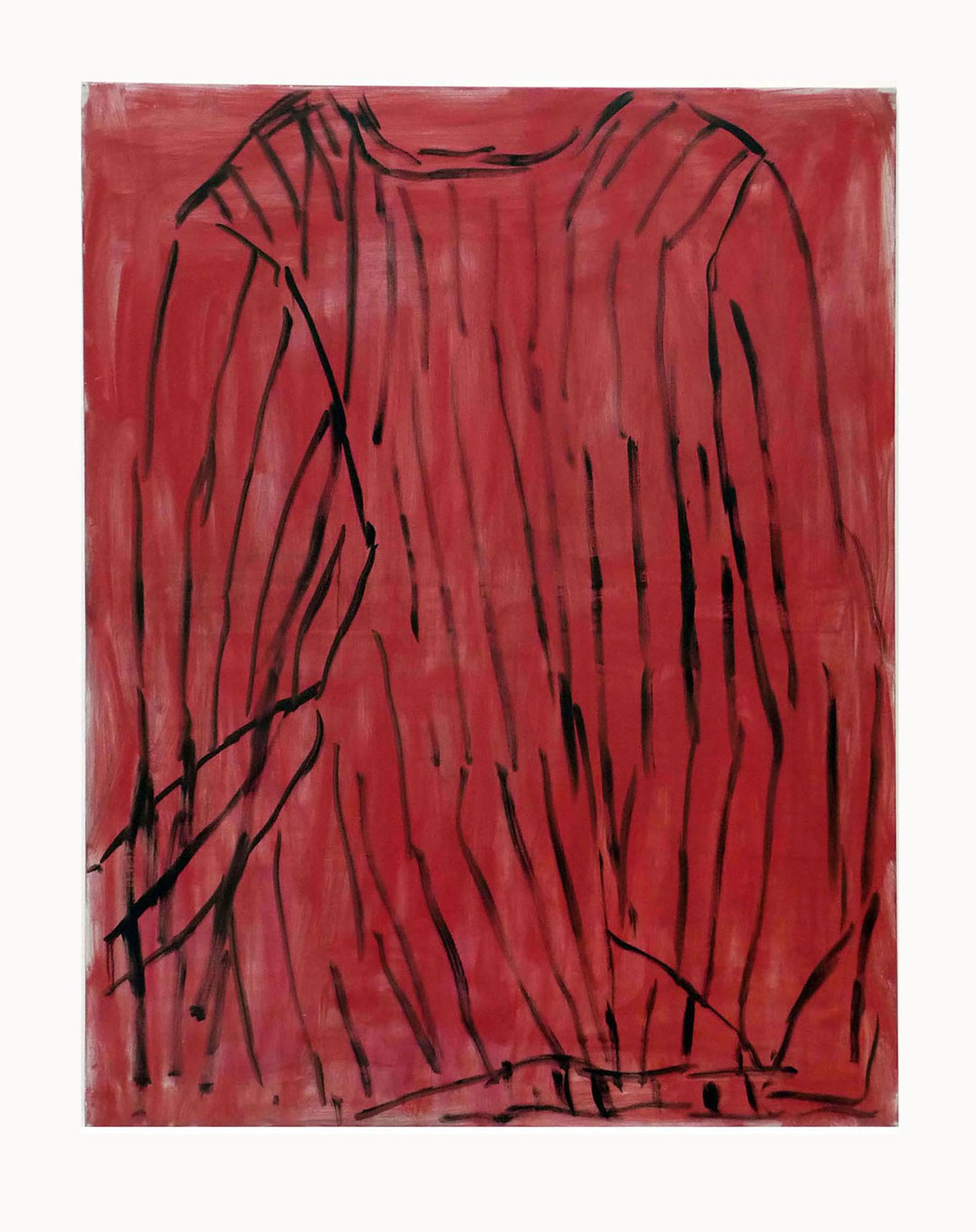 Marie Claude Bugeaud, galerie Berthet-Aittouarès, le pull rouge dans l'atelier-2011-huile sur toile-146x114cm