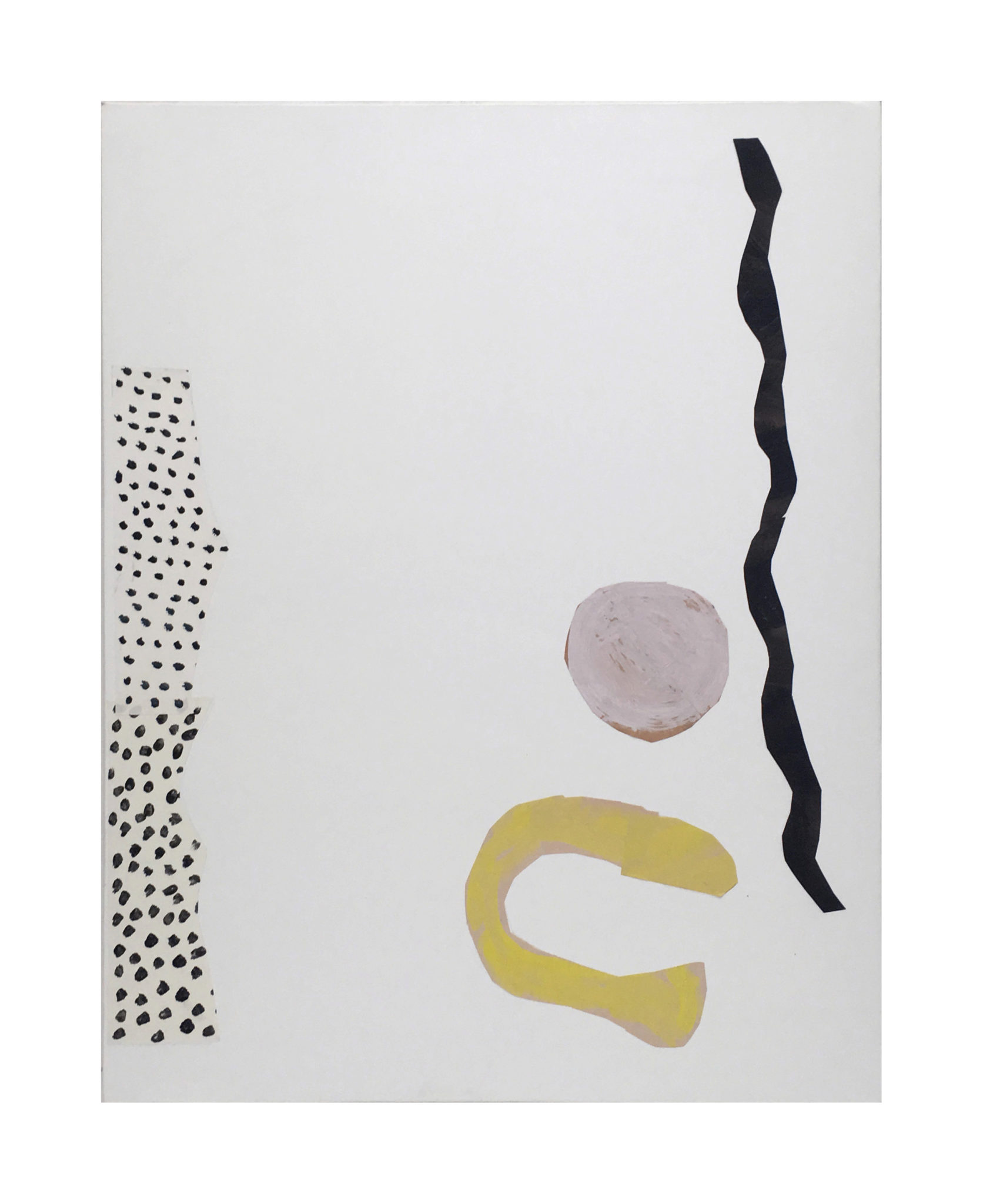 Marie Claude Bugeaud, galerie Berthet-Aittouarès, zigzag,et..-2018,acryl et papiers collés sur toile.146x115cm