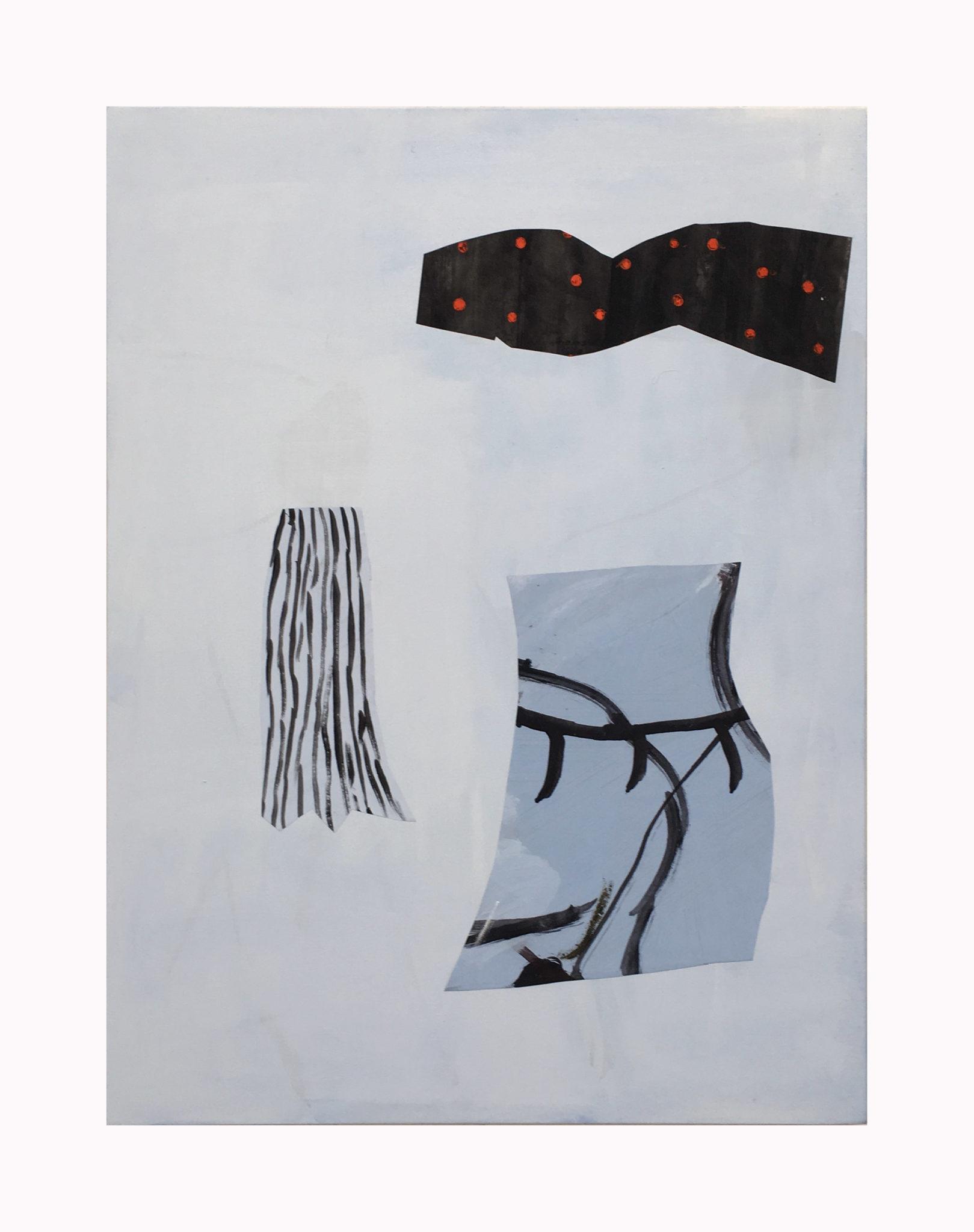 Marie Claude Bugeaud, galerie Berthet-Aittouarès,zigzag etc..2018,acryl,huile et papiers collés sur toile,70x54cm