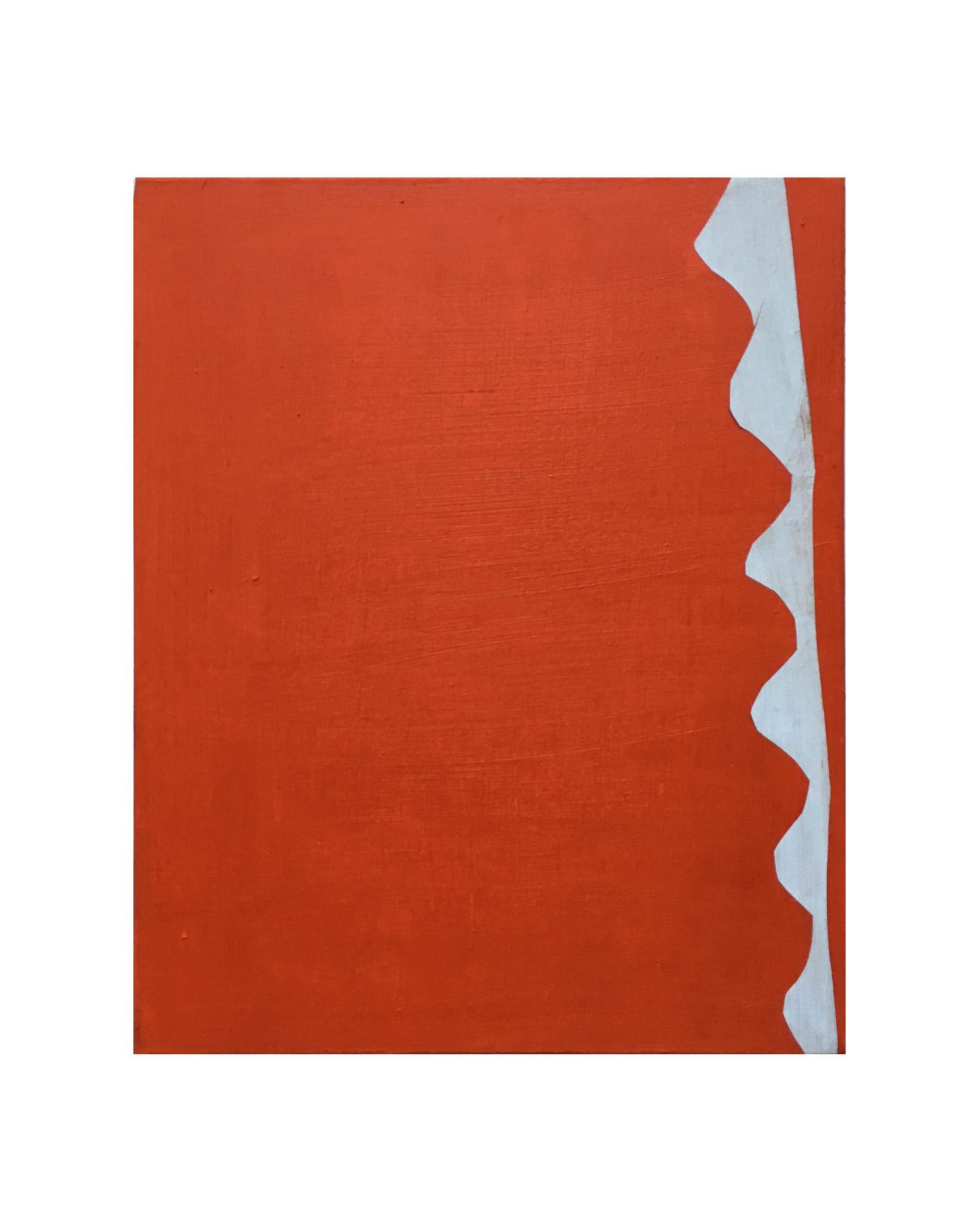 Marie Claude Bugeaud, galerie Berthet-Aittouarès, zigzag etc..2017 huile et papiers collés sur toile,27x22cm