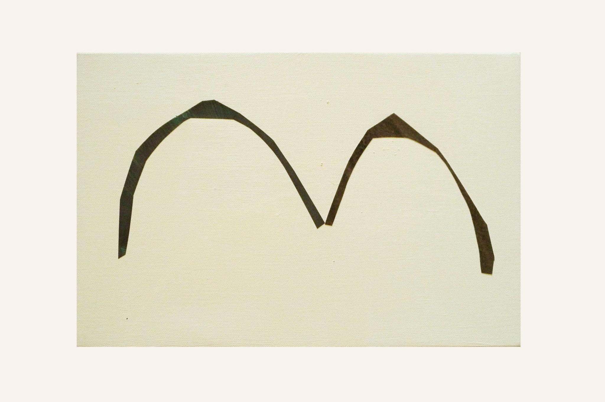Marie Claude Bugeaud, galerie Berthet-Aittouarès,plage,2016-acrylique et papiers collés,16×24 cm