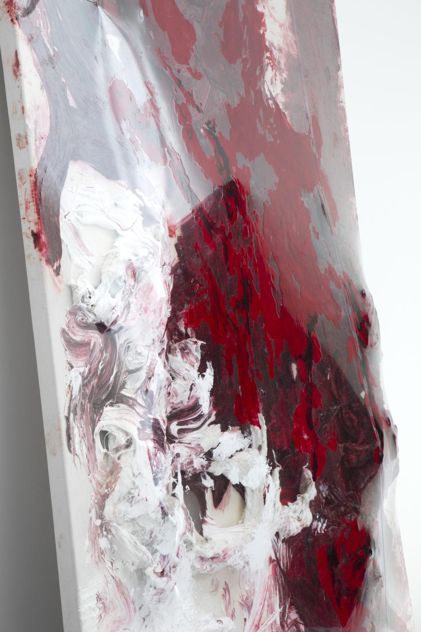 AnishKapoor Untitled, 2018 Détail / Detail Silicone, PVC sur toile montée sur planche / Silicone, PVC on canvas mounted on board 305x213x25cm  Vue de l'exposition / View of the exhibition «Another(M)other», kamelmennour (6rueduPontdeLodi), Paris6, 2018  ©ADAGPAnishKapoor2018 Photo. archiveskamelmennour Courtesy the artist and kamelmennour, Paris/London