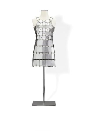 PACO RABANNE  Minidress made of rectangular aluminium plates ornated with studs on the bodice Haute Couture, Spring-Summer 1967  Est. 6.000 – 8.000 €  Credit : Sotheby's / Art Digital Studio