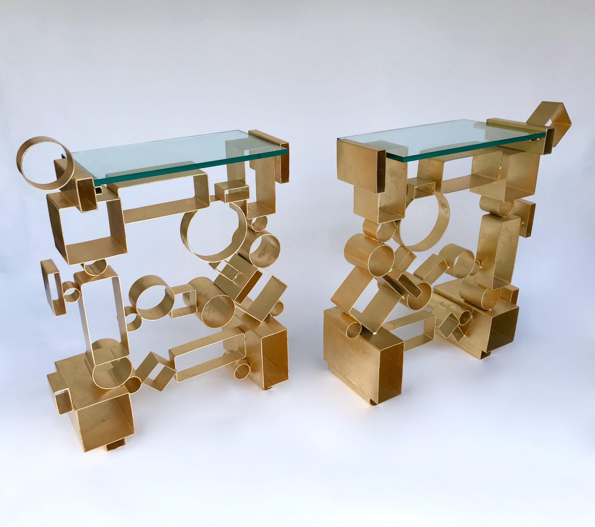 GALERIE STANISLAS REBOUL Antonio Cagianelli  Paire de console «Géometrie»  Métal doré à la feuille  Italie (2017) 8Ex. avec certificat de l'artiste.  Courtesy Galerie Stanislas Reboul