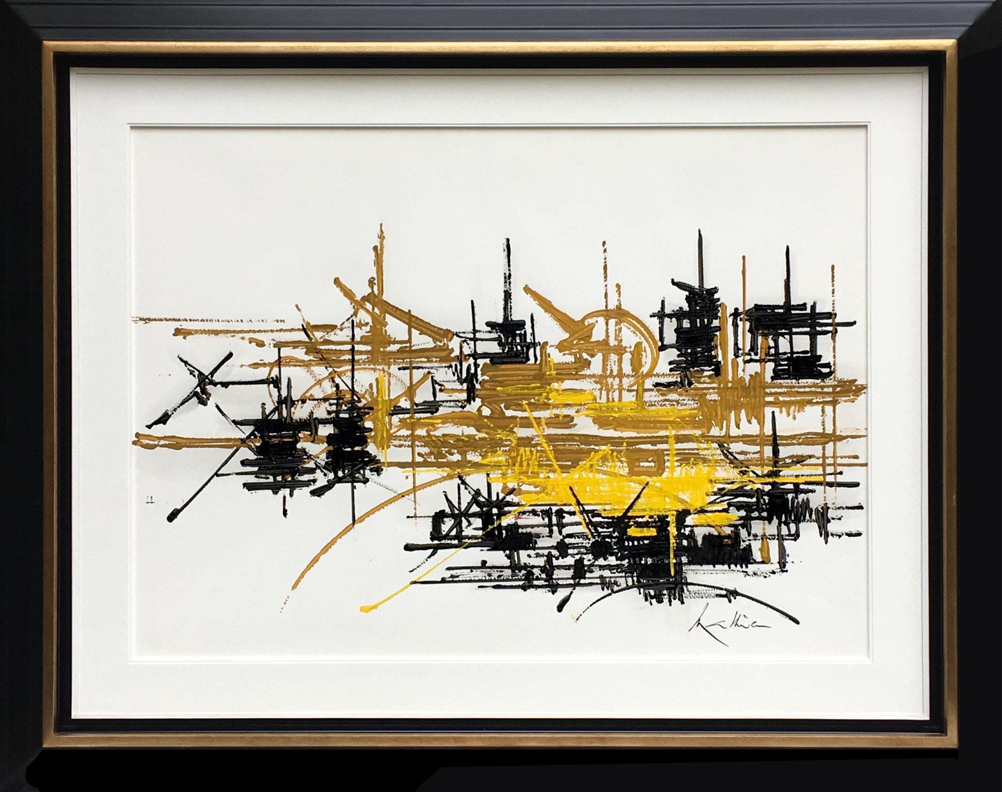 AE_18_M_1  ARTS & AUTOGRAPHES Georges MATHIEU «DELPHINIUM» Huile sur papier signé en bas à droite et titré au dos 57 x 75 cm Courtesy Arts & Autographes