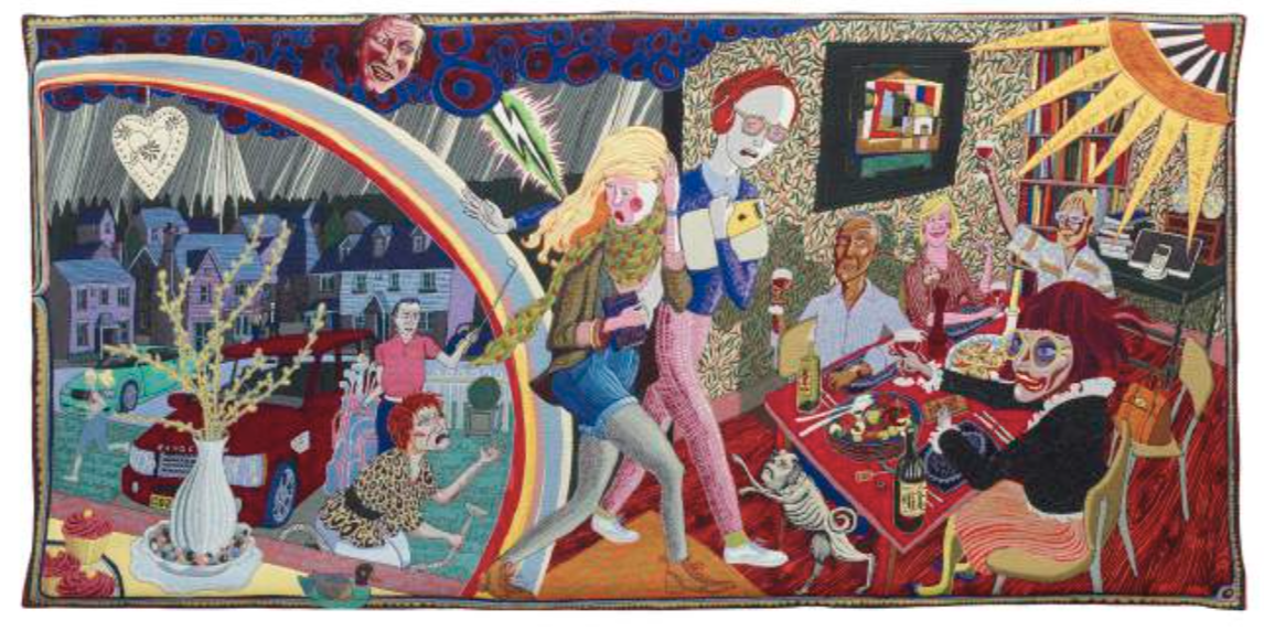 Expulsion from Number 8 Eden Close | Expulsion du jardin d'Éden no 8, 2012 Tapisserie ; laine, coton, acrylique, polyester et soie 200 x 400 cm © Grayson Perry Courtesy the artist and Victoria Miro, London / Venice
