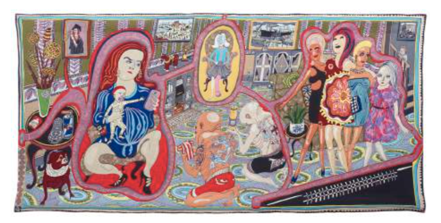 The Annunciation of the Virgin Deal | L'Annonciation de la transaction avec Virgin, 2012 Tapisserie ; laine, coton, acrylique, polyester et soie 200 x 400 cm © Grayson Perry Courtesy the artist and Victoria Miro, London / Venice