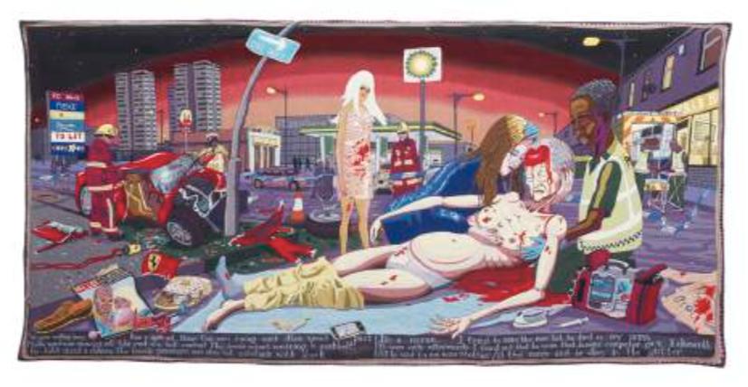 #Lamentation| #Lamentation 2012 Tapisserie ; laine, coton, acrylique, polyester et soie 200 x 400 cm © Grayson Perry
