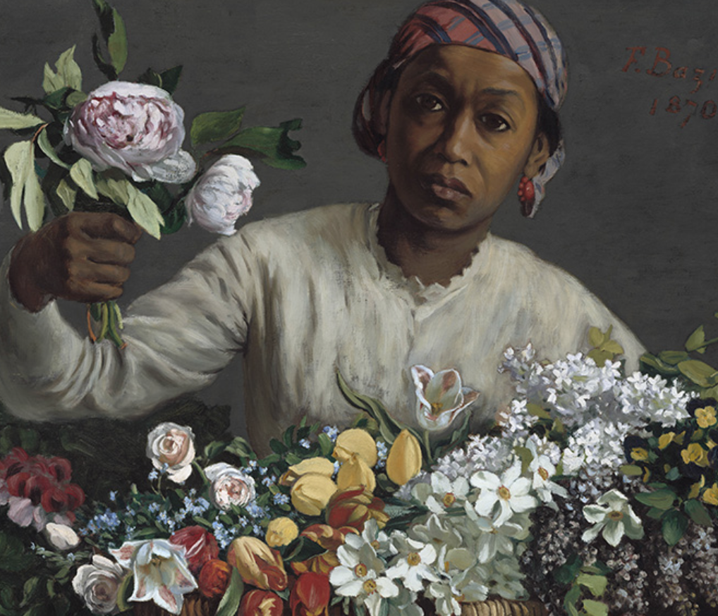 Frédéric Bazille. Young Woman with Peonies, 1870. Oil on canvas, 23 5/8 x 29 1/2 in. Courtesy the National Gallery, Washington, DC