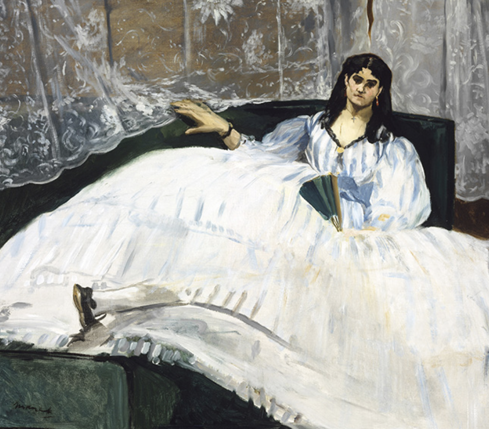 Édouard Manet, Lady with a Fan, 1862. Oil on canvas; 89.5 x 113 cm. Museum of Fine Arts, Budapest.